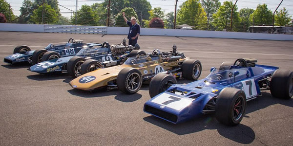 Dan Gurney reunited with all four 1969 'Santa Ana' Eagles  at the Speedway in 2015. Copyright Can-Am Cars Ltd. Used with permission.