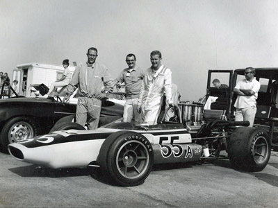 Tom McBurnie with his crew and his LeGrand Mk 7A Formula A car. Copyright Tom McBurnie Collection 2008. Used with permission.