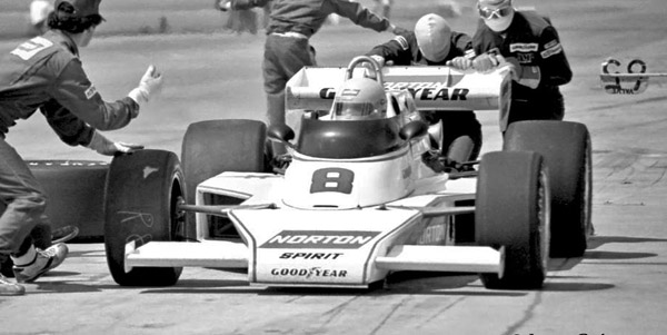 Tom Sneva in the Penske PC5 at Ontario in September 1977. Copyright Larry Roberts Motorsports Photography  2020. Used with permission.