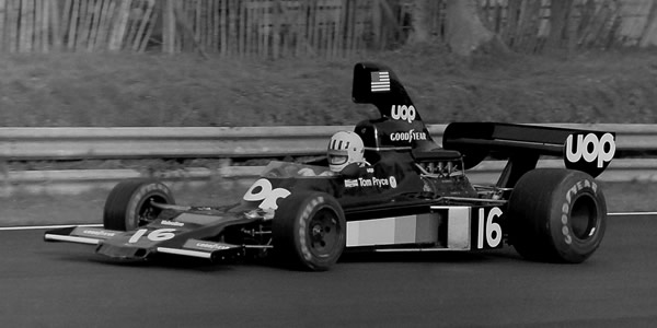 Tom Pryce in his Shadow DN5 on his way to victory at the 1975 Race of Champions. Licenced by Martin Lee under Creative Commons licence Attribution-ShareAlike 2.0 Generic (CC BY-SA 2.0). Original image has been cropped.