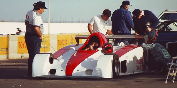 The Shelby Can-Am prototype X1 testing at Willow Springs, circa October 1987.  Copyright Bob Johnston 2010.  Used with permission.