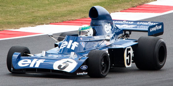 "John Delane's Tyrrell 006 being exhibited at the British GP meeting in July 2014. Licenced by Sheep""R""Us under Creative Commons licence Attribution-NonCommercial-NoDerivs 2.0 Generic. Original image has been cropped."