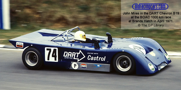One of DART Racing Chevron B19s at Brands Hatch in April 1971 where it was shared by John Miles and Graham Birrell.  Copyright The GP Library 2009.  Used with permission.