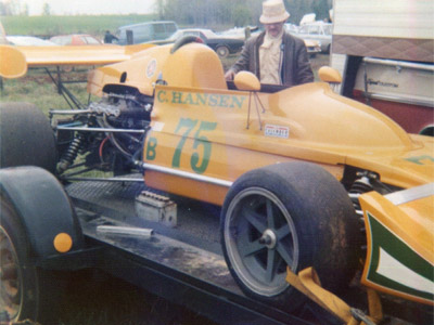 Chuck Hansen's Falconer-bodied March 722 on its trailer at VIR in April 1973. Copyright Ed Lloyd (virhistory.com) 2019. Used with permission.