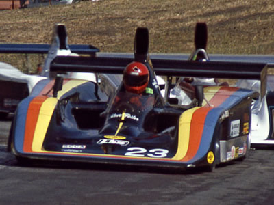 Steve Foster in his Frissbee at Sears Point in 1984. Copyright Dan Wildhirt  2010. Used with permission.