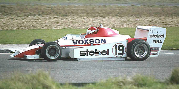 Siegfried Stohr in the Voxson/Stebel-sponsored Trivellato Racing Team Chevron B48 at Thruxton in 1979. Copyright Steve Wilkinson 2017. Used with permission.