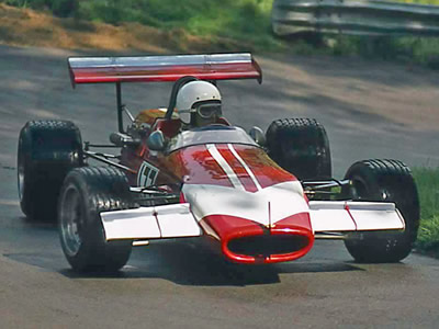 Richard Lester in his Lola T100 exiting Pardon at Prescott hillclimb in 1974. Copyright Steve Wilkinson 2020. Used with permission.