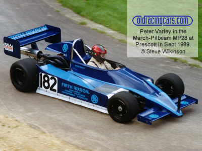 Peter Varley in the extensively-modified March-Pilbeam MP28 at Ettores at Prescott in September 1989. Copyright Steve Wilkinson  2020. Used with permission.