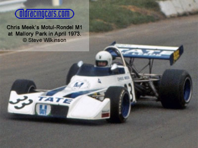 Chris Meek on his debut in the Formula Atlantic Motul Rondel M1 at Mallory Park in April 1973. Copyright Steve Wilkinson  2019. Used with permission.