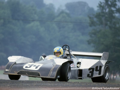 Bertil Roos in his first Chevron B27-based Can-Am car, at Mid-Ohio in 1979. Copyright Mark Windecker  2005. Used with permission.