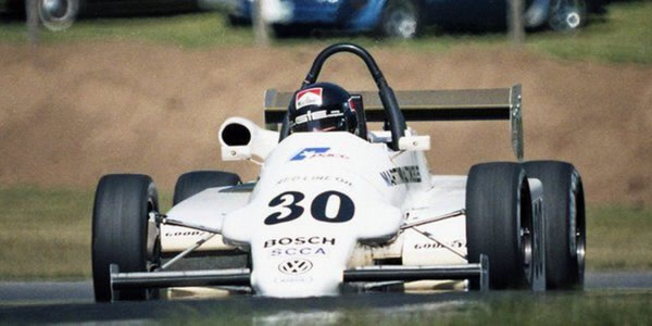 Didier Theys in the Martini MK50 at Mid-Ohio in August 1986.  Copyright Mark Windecker 2014.  Used with permission.
