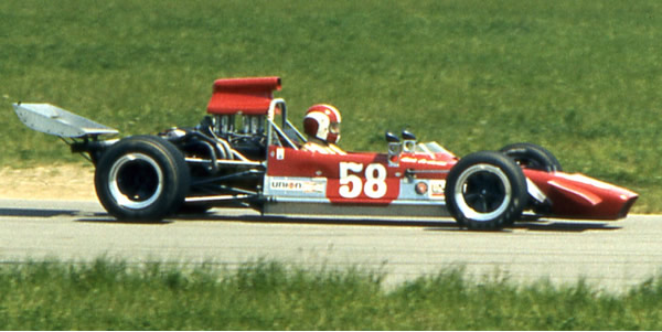 Dick DeJarld in the Mk 18 at Michigan in 1973. Copyright Mark Windecker  2005. Used with permission.