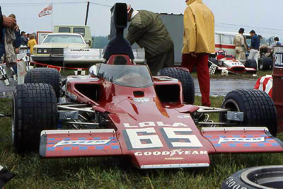 The works-modified #65 Lola T330 HU14 at Mid-Ohio in 1973. Copyright Mark Windecker  2004. Used with permission.