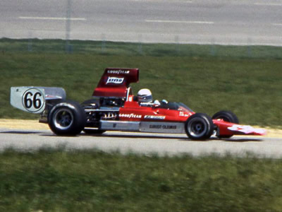 Haas Racing's Jim-Hall-modified T330 HU8, here driven by Derek Bell at R3 Michigan 1973. Copyright Mark Windecker  2004. Used with permission.
