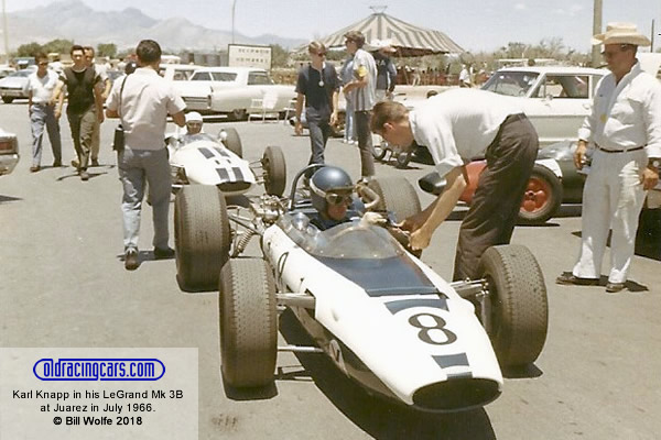 Karl Knapp in his LeGrand Mk 3B at Juarez in July 1966.  Copyright Bill Wolfe 2018.  Used with permission.