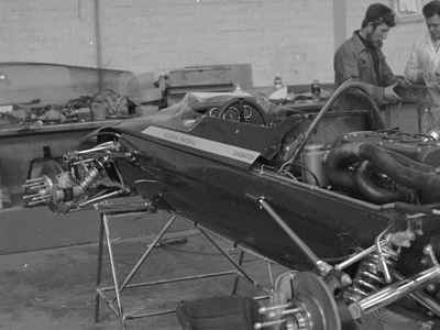 One of the former BMW team's Lola T100s being rebuilt at the Lola factory by John Woodington and Tony Kitchiner for 1968 for Jorge de Bagration. Copyright John Woodington 2020. Used with permission.