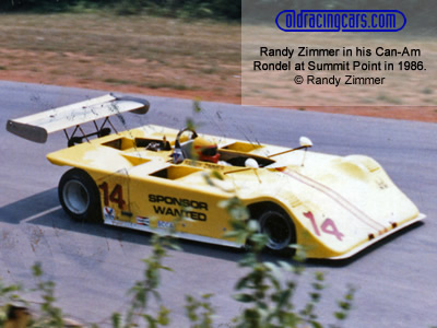 Randy Zimmer in his Can-Am Rondel at Summit Point in 1986. Copyright Randy Zimmer  2001. Used with permission.